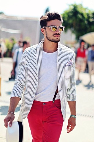 How to wear: white straw hat, red chinos, white crew-neck t-shirt, white and black vertical striped blazer
