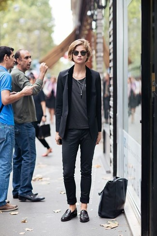 How to wear: burgundy leather loafers, black chinos, charcoal crew-neck t-shirt, black blazer