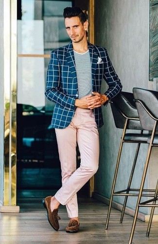 How to wear: dark brown suede tassel loafers, pink chinos, grey crew-neck t-shirt, navy and white check blazer