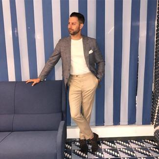 How to wear: dark brown suede oxford shoes, khaki chinos, white crew-neck t-shirt, grey plaid blazer