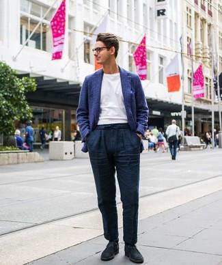 How to wear: navy suede desert boots, navy linen chinos, white crew-neck t-shirt, blue plaid wool blazer