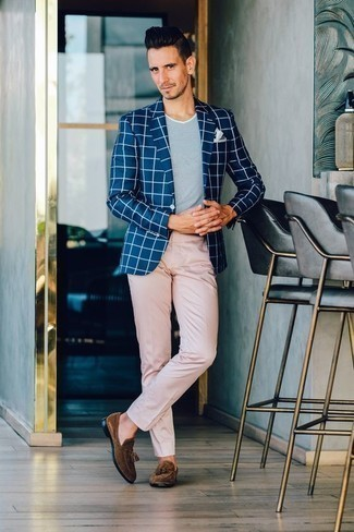 How to Wear a Navy Check Blazer For Men: A navy check blazer and pink chinos paired together are a perfect match. As for the shoes, you can stick to the classic route with brown suede tassel loafers.