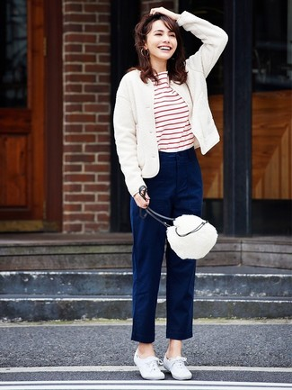 How to wear: white canvas low top sneakers, navy chinos, white and red horizontal striped crew-neck t-shirt, white wool bomber jacket