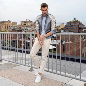 How to wear: white low top sneakers, beige chinos, white crew-neck t-shirt, grey satin bomber jacket