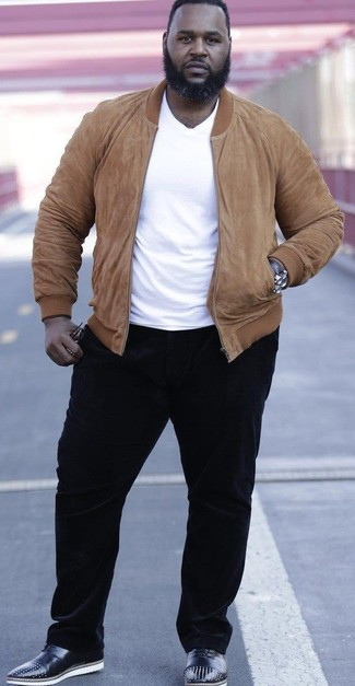 How to wear: black studded leather oxford shoes, black corduroy chinos, white crew-neck t-shirt, tan suede bomber jacket