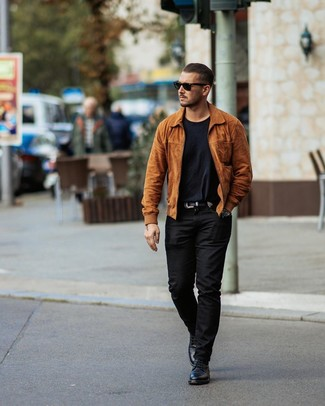 How to wear: black leather casual boots, black chinos, black crew-neck t-shirt, tobacco suede bomber jacket