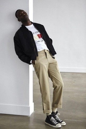 Fashion for 30 Year Old Men: What To Wear: For a laid-back outfit, dress in a black bomber jacket and khaki chinos — these two items work nicely together. Infuse a hint of stylish nonchalance into your look by wearing black and white canvas high top sneakers.