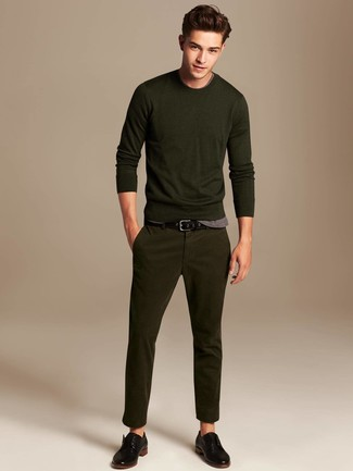 How to wear: black leather derby shoes, olive chinos, grey crew-neck t-shirt, olive crew-neck sweater