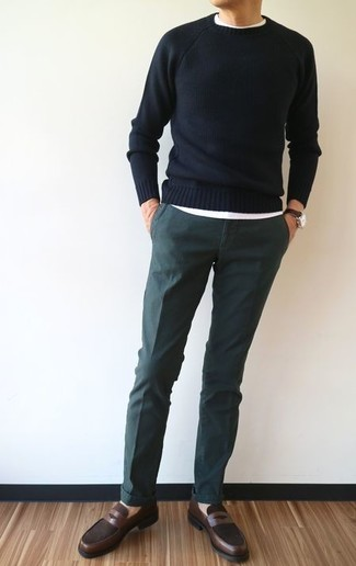 How to wear: dark brown leather loafers, dark green chinos, white crew-neck t-shirt, black crew-neck sweater