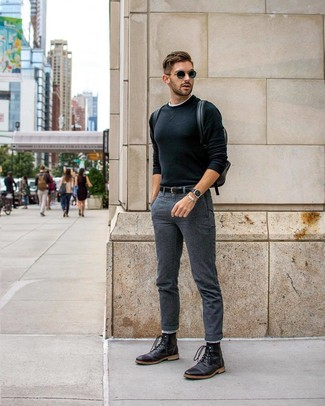 How to wear: black leather casual boots, charcoal chinos, white crew-neck t-shirt, black crew-neck sweater