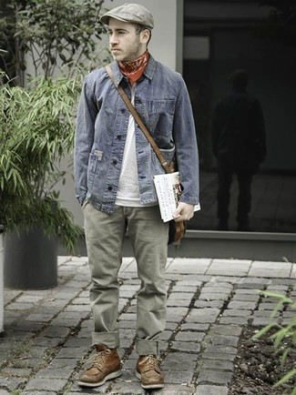 How to wear: brown leather casual boots, olive chinos, white crew-neck t-shirt, grey denim jacket