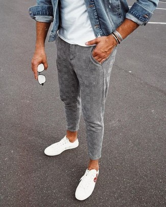 How to wear: white low top sneakers, grey plaid chinos, white crew-neck t-shirt, blue denim jacket