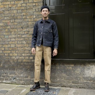 How to Wear Black Leather Casual Boots For Men: When comfort is key, team a navy denim jacket with khaki chinos. You could stick to a classier route when it comes to footwear by sporting a pair of black leather casual boots.