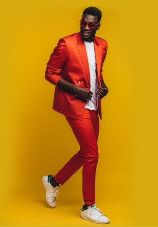 How to Wear Red Sunglasses For Men: Dress in a red double breasted blazer and red sunglasses for comfort dressing with a modernized spin. A pair of white and green leather low top sneakers is a great pick to finish this getup.