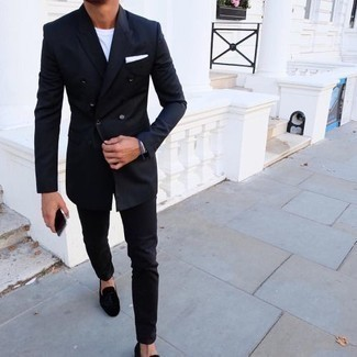 How to Wear Black Suede Tassel Loafers: Rock a navy double breasted blazer with black chinos if you want to look seriously stylish without spending too much time. Want to go all out with shoes? Throw black suede tassel loafers into the mix.