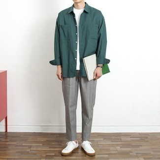 How to Wear a Teal Long Sleeve Shirt For Men: Teaming a teal long sleeve shirt with grey chinos is an awesome option for a casually cool outfit. When it comes to shoes, go for something on the casual end of the spectrum by rounding off with a pair of white canvas low top sneakers.