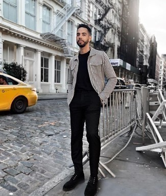 How to Wear Dress Shoes For Men: A white and black vertical striped long sleeve shirt and black chinos are an easy way to introduce effortless cool into your daily wardrobe. Feeling creative? Spice things up by finishing with dress shoes.