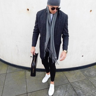 How to wear: white leather low top sneakers, black chinos, white crew-neck t-shirt, charcoal overcoat