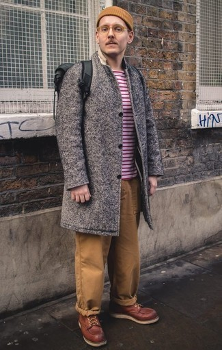 How to Wear a Tan Beanie For Men: Go for casual street style in a grey overcoat and a tan beanie. To give your overall look a smarter touch, rock a pair of burgundy leather casual boots.