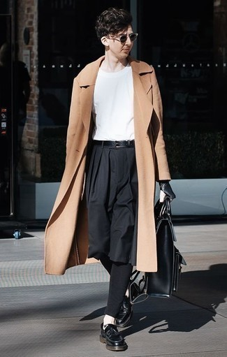 How to Wear a Black Leather Briefcase: For a casual and cool outfit, wear a camel overcoat with a black leather briefcase — these two pieces fit perfectly together. And if you wish to effortlessly kick up your ensemble with footwear, why not complement this look with black leather tassel loafers?