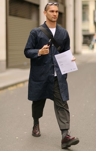 How to Wear Charcoal Socks For Men: To create an off-duty look with a street style spin, pair a navy raincoat with charcoal socks. Play up the dressiness of your look a bit by rounding off with a pair of burgundy leather derby shoes.