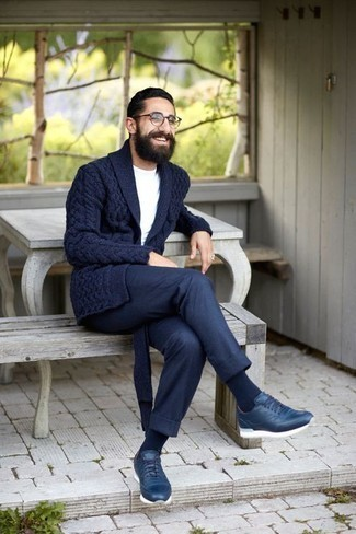 How to Wear Navy Athletic Shoes For Men: For a look that's street-style-worthy and effortlessly smart, choose a navy shawl cardigan and navy chinos. Up this whole outfit by rocking a pair of navy athletic shoes.