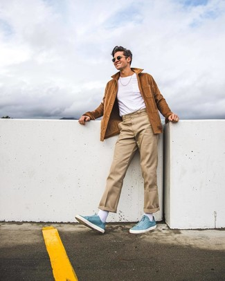 How to wear: light blue leather high top sneakers, beige chinos, white crew-neck t-shirt, brown suede shirt jacket