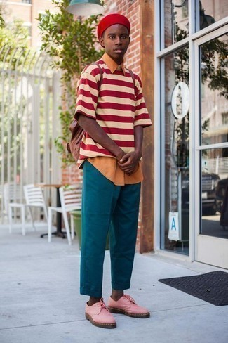 How to Wear a White and Red Horizontal Striped Crew-neck T-shirt For Men: A white and red horizontal striped crew-neck t-shirt and teal chinos are worth adding to your list of bona fide casual must-haves. Pink leather derby shoes will give an extra dose of sophistication to an otherwise standard getup.