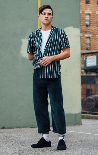 How to Wear Black Canvas Low Top Sneakers For Men: You'll be surprised at how easy it is for any man to pull together this casual look. Just a teal vertical striped short sleeve shirt combined with teal corduroy chinos. Rock a pair of black canvas low top sneakers and ta-da: your outfit is complete.