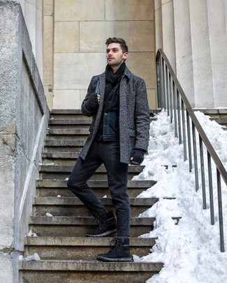 How to wear: black suede work boots, charcoal wool chinos, navy denim jacket, charcoal herringbone overcoat