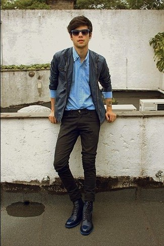 How to wear: navy leather casual boots, black chinos, light blue denim shirt, navy barn jacket