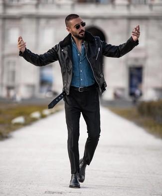 How to wear: black leather chelsea boots, black chinos, blue denim shirt, black leather biker jacket