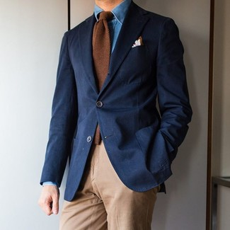 How to wear: brown wool tie, khaki chinos, blue denim shirt, navy blazer
