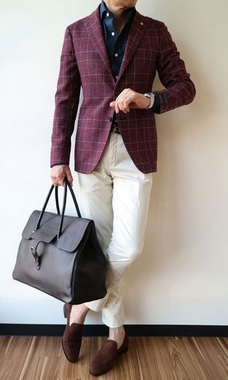 How to wear: dark brown suede loafers, white chinos, navy denim shirt, burgundy plaid blazer