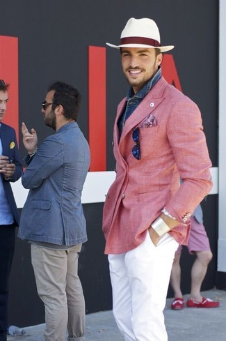How to wear: white straw hat, white chinos, blue denim shirt, pink double breasted blazer