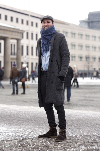 How to wear: dark brown suede casual boots, black chinos, light blue denim shirt, charcoal overcoat