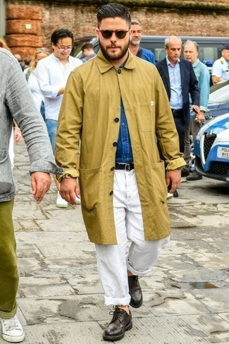 How to Wear a Blue Denim Shirt For Men: Opt for a blue denim shirt and white chinos for an off-duty menswear style with a contemporary spin. Dark brown leather brogues will inject a hint of sophistication into an otherwise everyday look.
