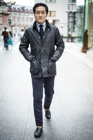 How to Wear Black Leather Loafers For Men: Pair a black barn jacket with navy chinos to feel completely confident and look trendy. Black leather loafers are a guaranteed way to breathe a sense of elegance into your look.