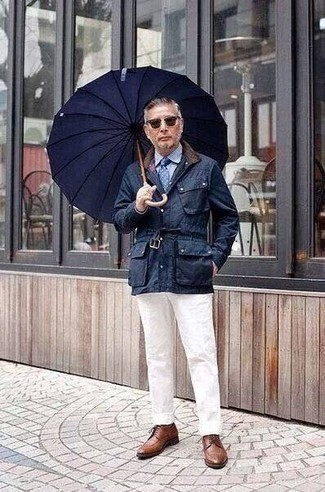 How to Wear Brown Leather Derby Shoes: Pairing a navy barn jacket with white chinos is a wonderful option for a laid-back ensemble. Brown leather derby shoes are guaranteed to breathe an added touch of style into this ensemble.