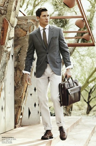 How to wear: dark brown leather derby shoes, beige chinos, white dress shirt, grey blazer