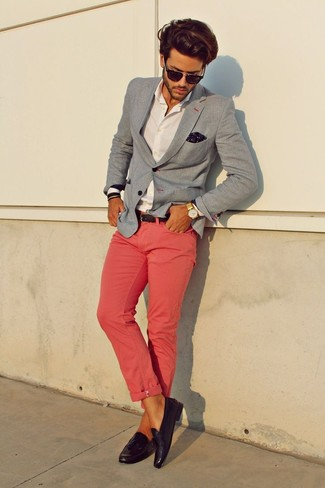 How to wear: dark purple leather tassel loafers, pink chinos, white dress shirt, grey blazer