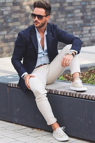 How to wear: beige low top sneakers, beige chinos, light blue dress shirt, navy vertical striped blazer