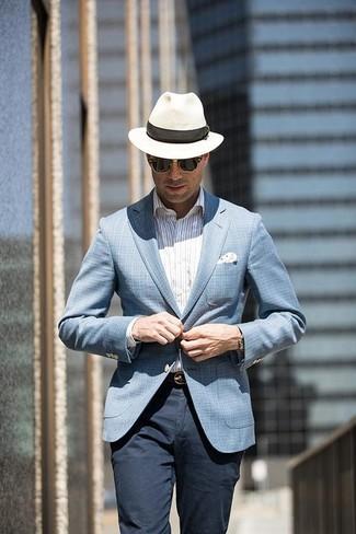 How to wear: white straw hat, navy chinos, white vertical striped dress shirt, light blue plaid blazer