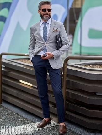 How to wear: dark brown leather loafers, navy chinos, white dress shirt, grey wool blazer