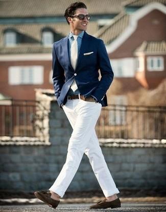 How to wear: dark brown suede tassel loafers, white chinos, blue gingham dress shirt, navy blazer