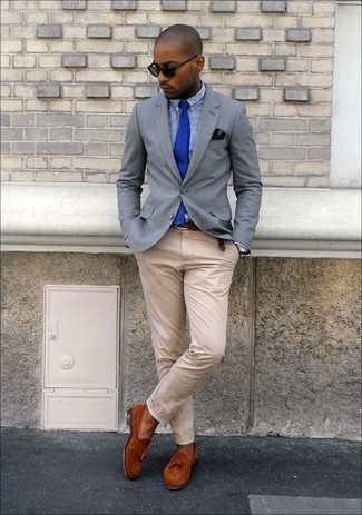 How to wear: tobacco suede tassel loafers, beige chinos, blue gingham dress shirt, grey blazer