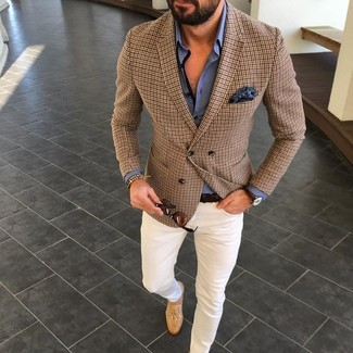 How to wear: tan suede tassel loafers, white chinos, blue dress shirt, brown check blazer