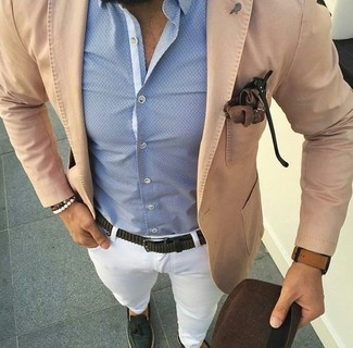 How to wear: dark green leather tassel loafers, white chinos, light blue dress shirt, tan cotton blazer