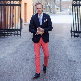 How to wear: black leather brogue boots, hot pink chinos, white dress shirt, navy blazer