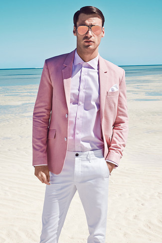 How to wear: white pocket square, white chinos, pink dress shirt, pink blazer